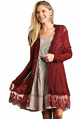 Umgee USA Women's Plus Sized Lightweight Lace Trimmed Open Cardigan Sweater Wine