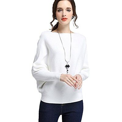 OLSS-Slash Neck Batwing Sleeves Loose Basic Knitted Pullover Sweater White, New