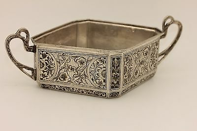 Antique Original Silver Niello Handmade  Amazing Ottoman Sugar Plate