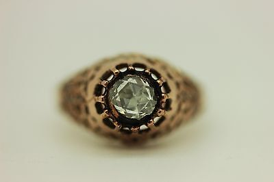 Antique  Handmade Ottoman Islamic  8K Gold Brilliant Diamond Crowbar Ring