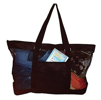 Super Large Mesh Tote Beach Bag 24 x 15 x 6 Can be Personalized Blank Black