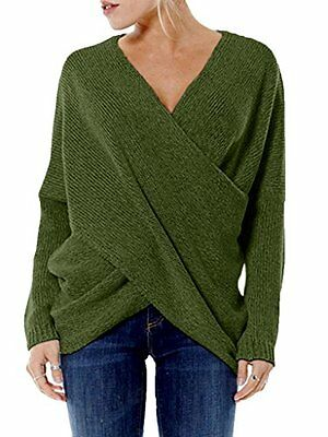 PERSUN Womens Fashion Cross Wrap Front V-neck Long Sleeve Knit Jumper Top,Green,