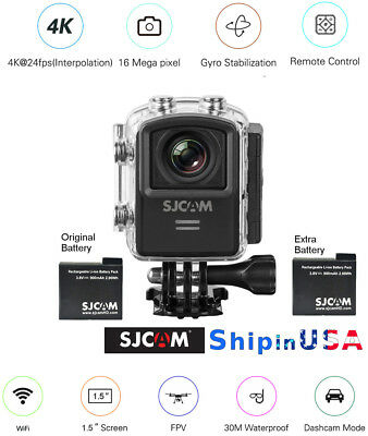 SJCAM M20 4K 16MP Sports Action Cam Gyro Stabilization, extra Battery, M20-BLK