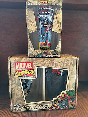 Marvel Comics Captain America Collector's Series Pint Glasses x 3