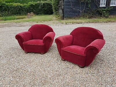 Art Deco Club Chairs x2