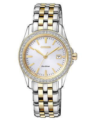 New! Ladies CITIZEN Two Tone SILHOUETTE Watch w/ Swarovski Crystals EW1908-59A