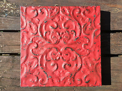 Embossed Distressed Ceiling Tin Red Wall Art Decor Hanging Shabby Chic Accent