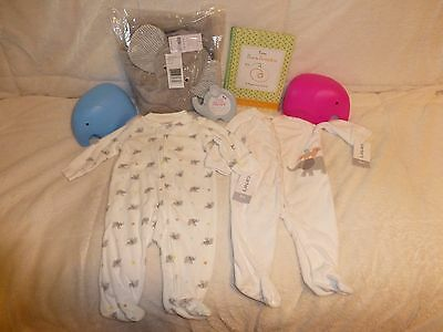 Lot of Carters Baby Elephant Towel Picture Frame Sleepers Pregnancy Journal NEW