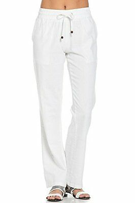 Poplooks Women's Comfy Drawstring Linen Pants Long White Small PL, New