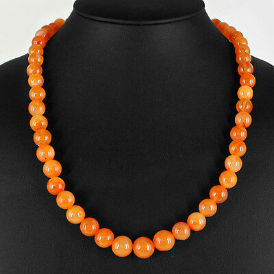 330.00 Cts Natural Untreated Rich Orange Carnelian Round Beads Bracelet