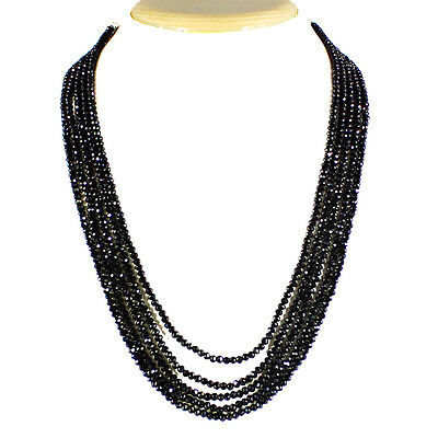 Top Aaa 212.50 Cts Natural 5 Line Sparkling Earth Mined Black Spinel Necklace