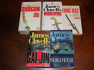 Lot of 5 James Clavell books PB Shogun, Whirlwind, Noble House, Gai-Jin...