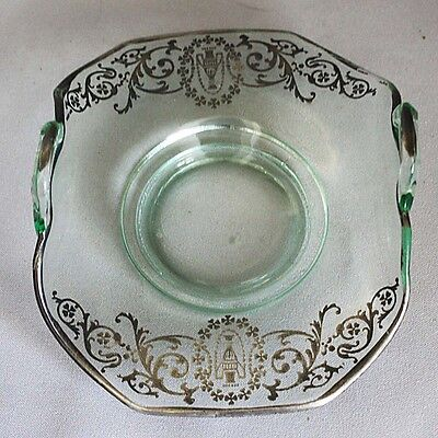SALE! Antique Vintage SILVER OVERLAY on Lt. Green Glass HANDLED BOWL DISH