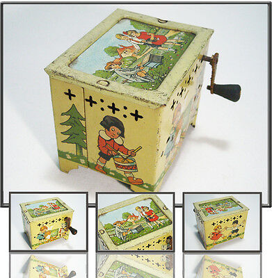 TOP TIN TOY: KINDER SPIELDREORGEL, FRENCH-ZONE GERMANY 1945-55s GERMAN MUSIC BOX