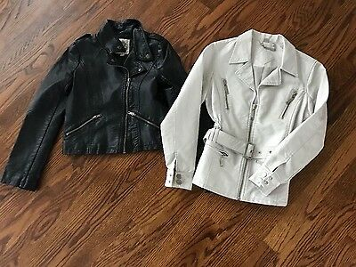 Leather (faux) jackets girls sz 10/12 (both!)