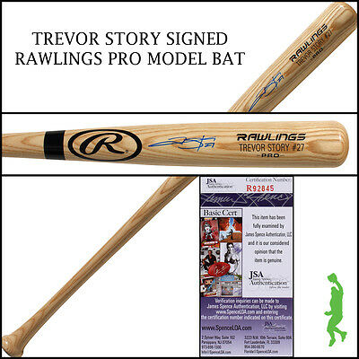Trevor Story Autographed Signed Rawlings Pro Model Baseball Bat Rockies Jsa Coa