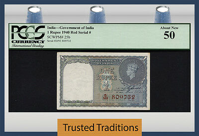 TT PK 25b 1940 INDIA 1 RUPEE SCARCE VARIETY RED SERIAL # KING GEORGE VI PCGS 50