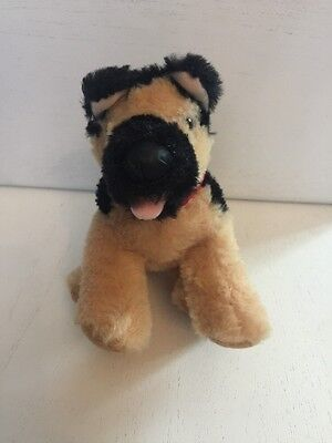 Build A Bear Small Dog Plush Black and Brown Dog with Red bandanna