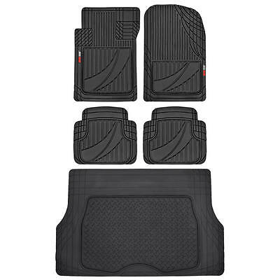 Modern Black 5pc Automotive Rubber Floor Mats & Cargo Liner for SUV Car Van