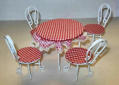5 Pc Iron Wire Ice Cream Table And Chairs Dollhouse Furniture Miniatures