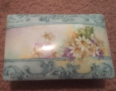 Antique Vintage Hand Painted Floral Porcelain Trinket Jewelry Box - Signed!