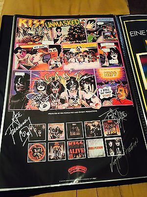 Kiss Promo Unmasked Poster Signed Ace Peter Victor Stabin 1980