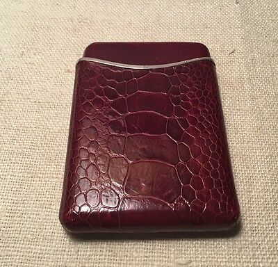Dunhill Vintage Maroon Alligator Skin Over Sterling Silver Business Card Case