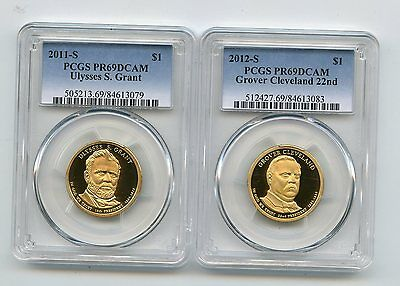 2011-S/2012-S Proof Presidential Dollars Cleveland/Grant (PR69DCAM) PCGS 2 Coins