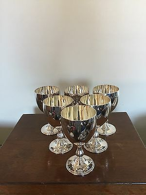 "Lovely Set Of 6 Silver Plated Wine Goblets By Barker Ellis 5"" Tall"