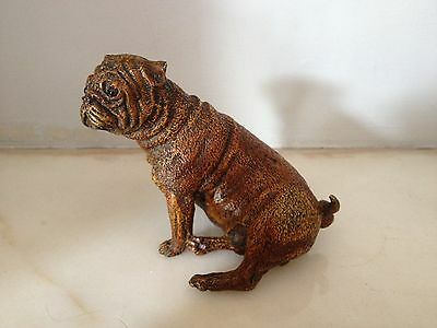 VINTAGE LATE 20th CENTURY BERGMAN STYLED COLD PAINTED BRONZE DOG