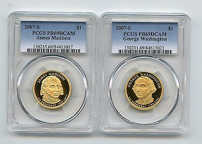 2007-S Proof Presidential Dollars Madison/Washington (PR69DCAM) PCGS 2 Coins