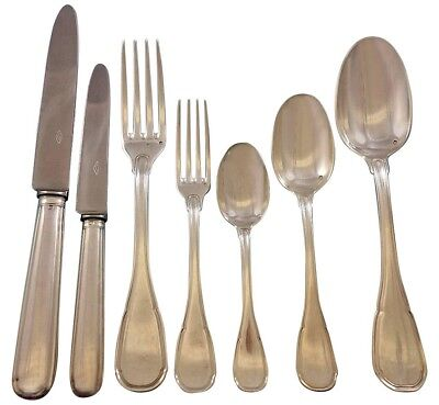 Puiforcat French Sterling Silver Flatware Set for 12 Service 93 pieces
