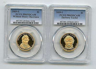 2009-S Proof Presidential Dollars Taylor/Harrison (PR69DCAM) PCGS 2 Coins