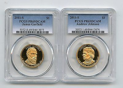 2011-S Proof Presidential Dollars Garfield/Johnson (PR69DCAM) PCGS 2 Coins