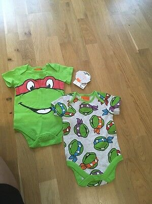 bnwt baby boy mothercare 2 rompers babygrows size 6 9 months Ninja Turtles