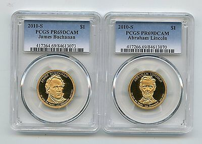 2010-S Proof Presidential Dollars Buchanan/Lincoln (PR69DCAM) PCGS 2 Coins
