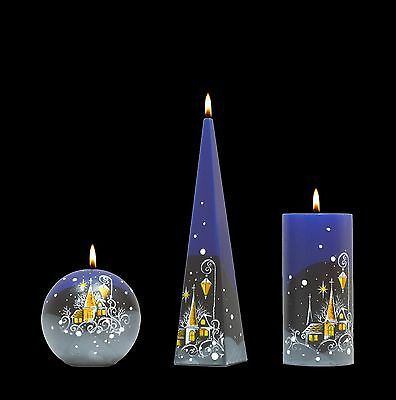 Handmade Candles Decorated Painted Candles Christmas Village Pillar Candle Gift