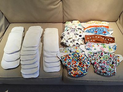 11 Reusable Nappies And 16 Liners