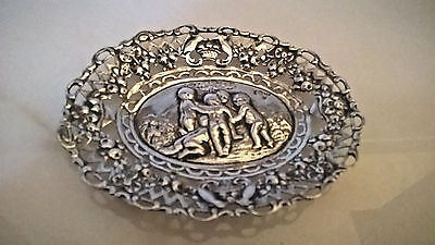 Antique German Solid Silver Repousse Ornate Pin Tray Featuring Putti