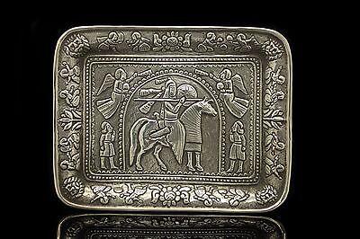 Antique Original Silver Greek Amazing Handmade Plate