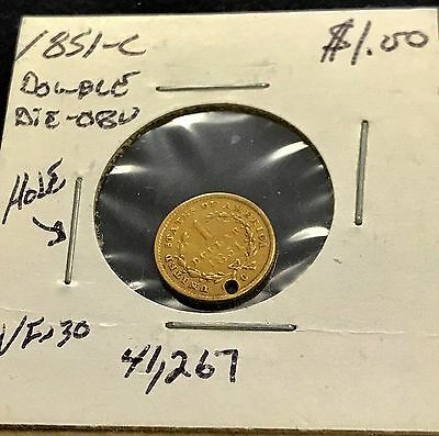 1851-C $1 gold coin double die-obv with punch hole