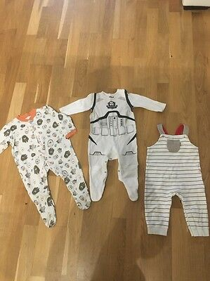 baby grows sleepsuits rompers 6 9 months dtar wars m&s mothercare