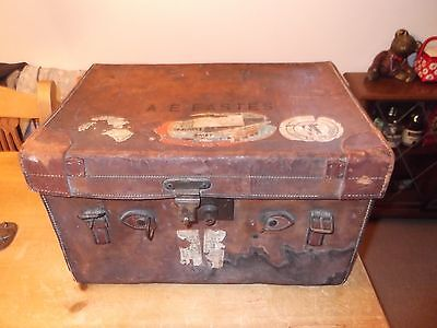 Antique leather Travel case/ suitcase with travel labels