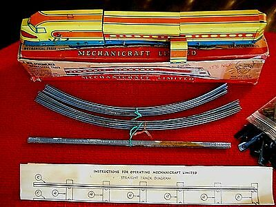 MECHANICRAFT LIMITED CIRCA 1930 WINDUP VARIABLE SPEED TIN TRAIN w TRACK AND BOX