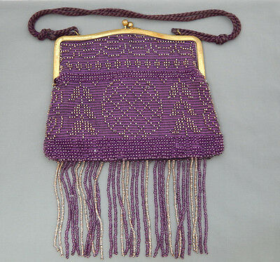 Vintage Art Deco Purple Embroidered Glass Bead Flapper Tassel Handbag Purse