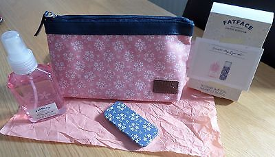 FAT FACE COSMETIC BAG with body spray and lip gloss GIFT SET-UN-USED.