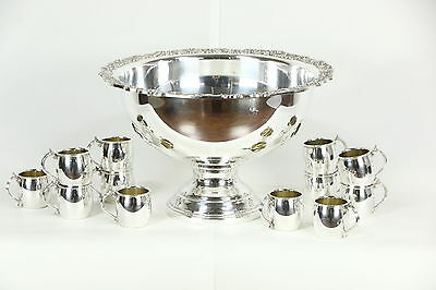 Rogers Signed Vintage Silverplate Footed Punch Bowl Set, 12 Cups
