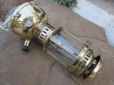 Vintage Brass Lamp Lantern Petromax Genuine Geniol Germany To Electrical Change