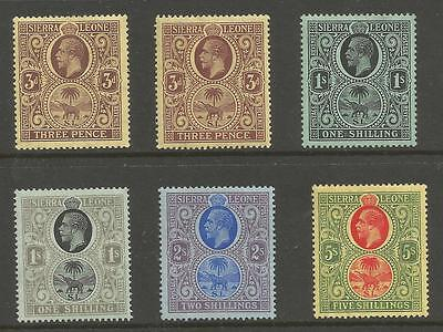SIERRA LEONE BET SG116b-126 GV 1912-21  SELECTION TO 5/- MOUNTED MINT CAT £89