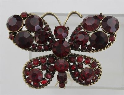 Vintage Ruby Red Rhinestones BUTTERFLY Antique Gold Tone ROPE BRAIDED Brooch